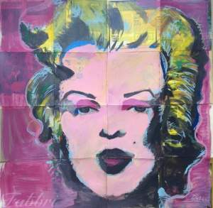 "2016 Marilyn, acrylic on cardboard 50""x50"""