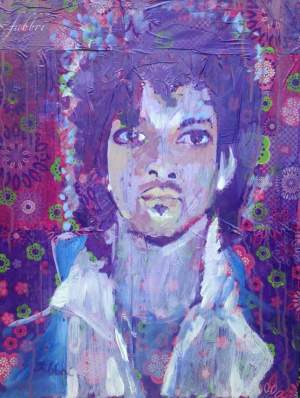 "2016 Prince, oil and acrylic on plastic and wood 24""x18"""