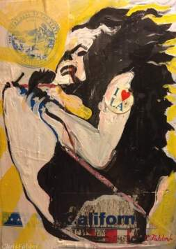 "2016 Janis Joplin, acrylc on paper 9""x6 1/2"""