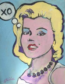 "2016 Marilyn XO, acrylic on cardboard 18""x14"""
