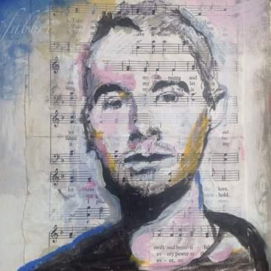 """2016 Adam MCA Yauch, acrylic on paper 7""""x7"""""""