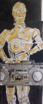 "2016 C3PO with boombox, acrylic on cardboard 31""x14"""