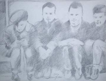 """2016 Beastie Boys, Polly Wog Stew '82 Kate, Adam, John and Mike, pencil on paper 11""""x14"""""""