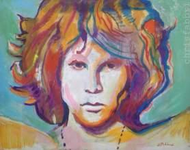"2016 Jim Morrison, oil and acrylic on cardboard 16""x20"""
