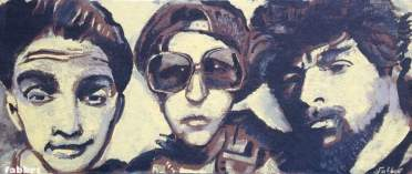 "2016 Beastie Boys, acrylic on leather panel board 14""x32"""