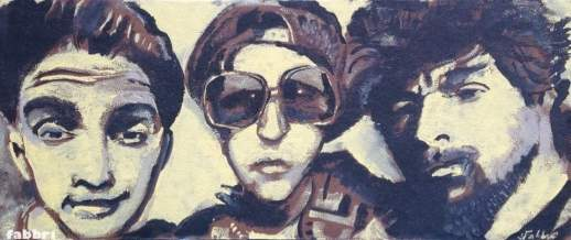 "2016 Beastie Boys, acrylic on leather panel board 14""x32"""