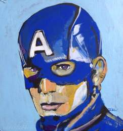 "2016 Captain America, acrylic on cardboard 12""x12"""