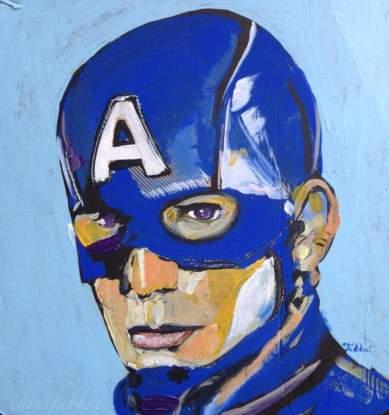 """2016 Captain America, acrylic on cardboard 12""""x12"""""""