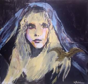 "2016 Stevie Nicks, acrylic on cardboard 24""x24"""
