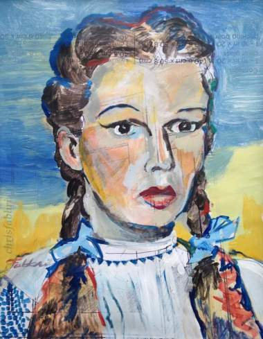 """2016 Judy Garland as Dorothy, acrylic on paper 17""""x14"""""""