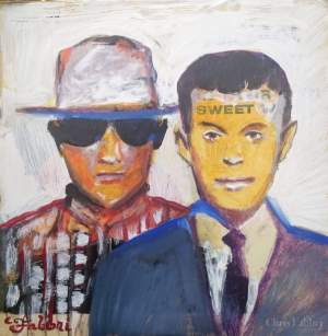 "2016 Petshop Boys, acrylic on cardboard 12""x12"""