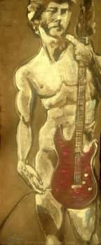 "2016 David Unplugged, acrylic on cotton felt board 32""x14"""