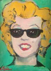 "2016 Marilyn with sunglasses, acrylic on cardboard 11""x8"""