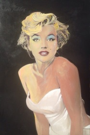 "2015 Marilyn looking up, acrylic on wood 36""x24"""
