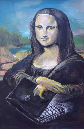 "2013 Mona Lisa with her laptop, acrylic on cardboard 36""x24"""