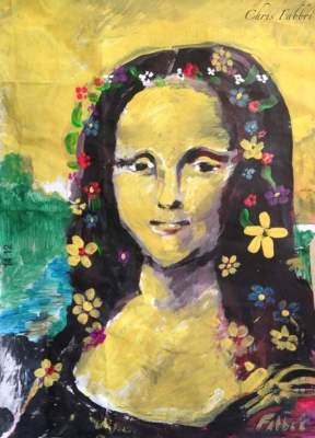 2015 Mona Lisa with flowers in her hair, acrylic on paper 15″X11″
