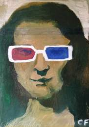 "2016 Mona Lisa 3D glasses, acrylic on cardboard 8""x6"""