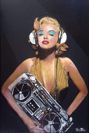 "2016 Marilyn Monroe with headphones and radio, acrylic on wood 36""x24"""