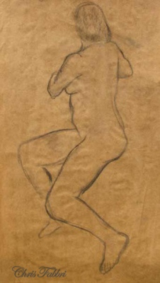 1996 Seated Turning, charcoal on paper 30″x24″