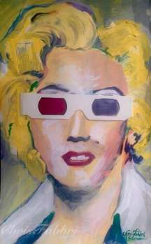 2016 Marilyn Monroe wearing 3-D glasses, acrylic on paper 14″x8 1/2″