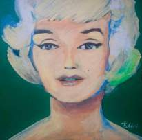 "2016 Marilyn Barbie, acrylic on cardboard 12""x12"""