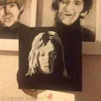 "John Lennon, acrylic on cardboard 6 1/2""x6 1/2"""