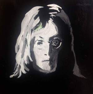 "2016 John Lennon, acrylic on cardboard 6 1/2""x6 1/2"""