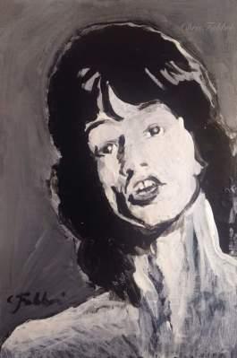 """2016 Mick Jagger, acrylic on cardboard 8 1/2""""x5 1/2"""""""