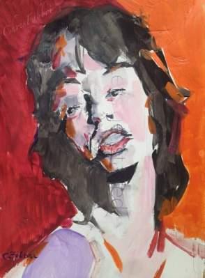 """2016 Mick Jagger, acrylic on cardboard 18""""x13"""""""
