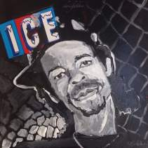 "2016 Ice-T, acrylic on cardboard 6 1/2""x6 1/2"""