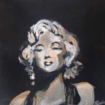"2016 Marilyn, acrylic on cardboard 6 1/2""x6 1/2"""