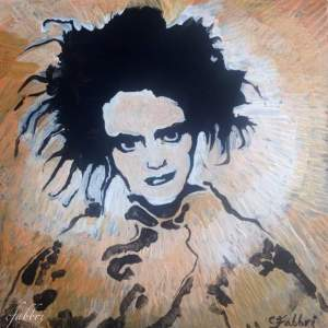 "2016 Robert Smith, acrylic on cardboard 6 1/2""x6 1/2"""