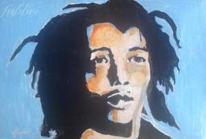 2016 Bob Marley, acrylic on cardboard 5 1/2″x8 1/2″
