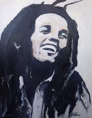 "2016 Bob Marley, acrylic on canvas 20""x16"""