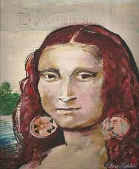 2014 Mona Lisa with earrings, oil and acrylic on cardboard 10 1/2″X10 1/2″