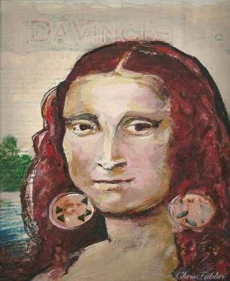 2014 Mona Lisa with earrings, oil and acrylic on cardboard 10 1/2″X10 1/2″