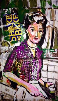 "2015 Barbara Billingsley as June Cleaver, acrylic on cardboard 12""x7"""