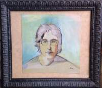 John Lennon portrait painting showing 12/3-1/7 at DogPatch cafe 3rd St. SF
