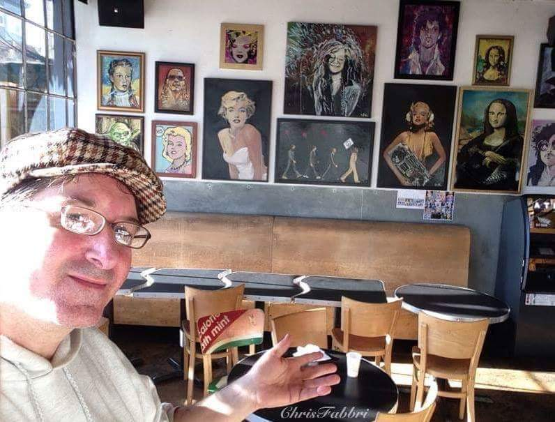 Chris Fabbri art show at Brainwash cafe Folsom St. SF Dec.2016