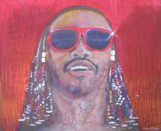 "2014 Stevie Wonder, acrylic on linen 32""x36"""