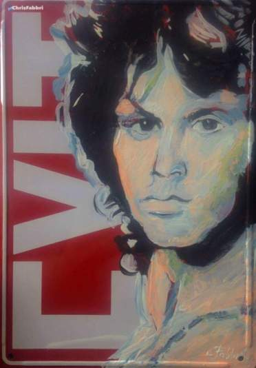 "2017 Jim Morrison, acrylic on metal 10""x7"""