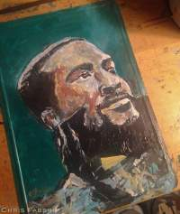 "2017 Marvin Gaye, acrylic on metal 10""x7"""