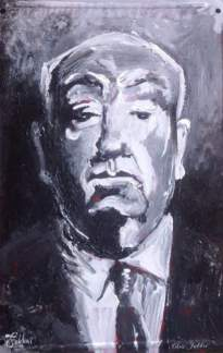 "2017 Alfred Hitchcock, acrylic on metal 10""x7"""