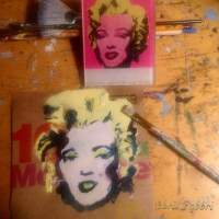 "2017 Marilyn Monroe, acrylic on cardboard 5""x5"" ChrisFabbri.com"