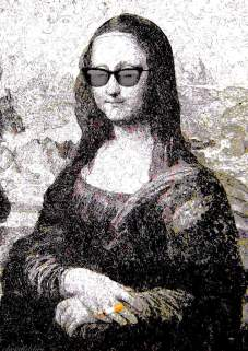 Mona Lisa wearing sunglasses with a cigarette