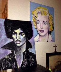 Prince and Marilyn, acrylic on wood Chris Fabbri art studio