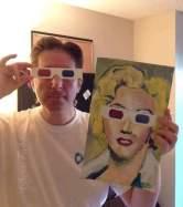 "2016 Marilyn Monroe wearing 3-D glasses, acrylic on paper 14""x8 1/2"" www.chrisfabbri.com"