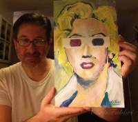 "2016 Marilyn Monroe wearing 3-D glasses, acrylic on paper 14""x8 1/2"" www.chrisfabbri.com"