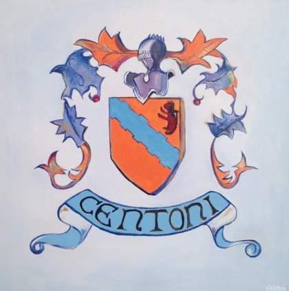 "Centoni emblem, oil and acrylic on canvas 20""x20"" •"