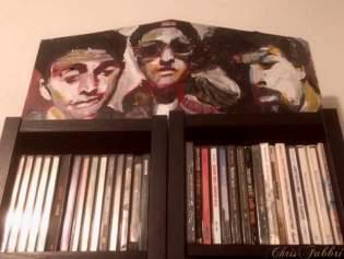 "painted in 2016 Beastie Boys, acrylic on cardboard 7""x17"" • www.chrisfabbri.com"